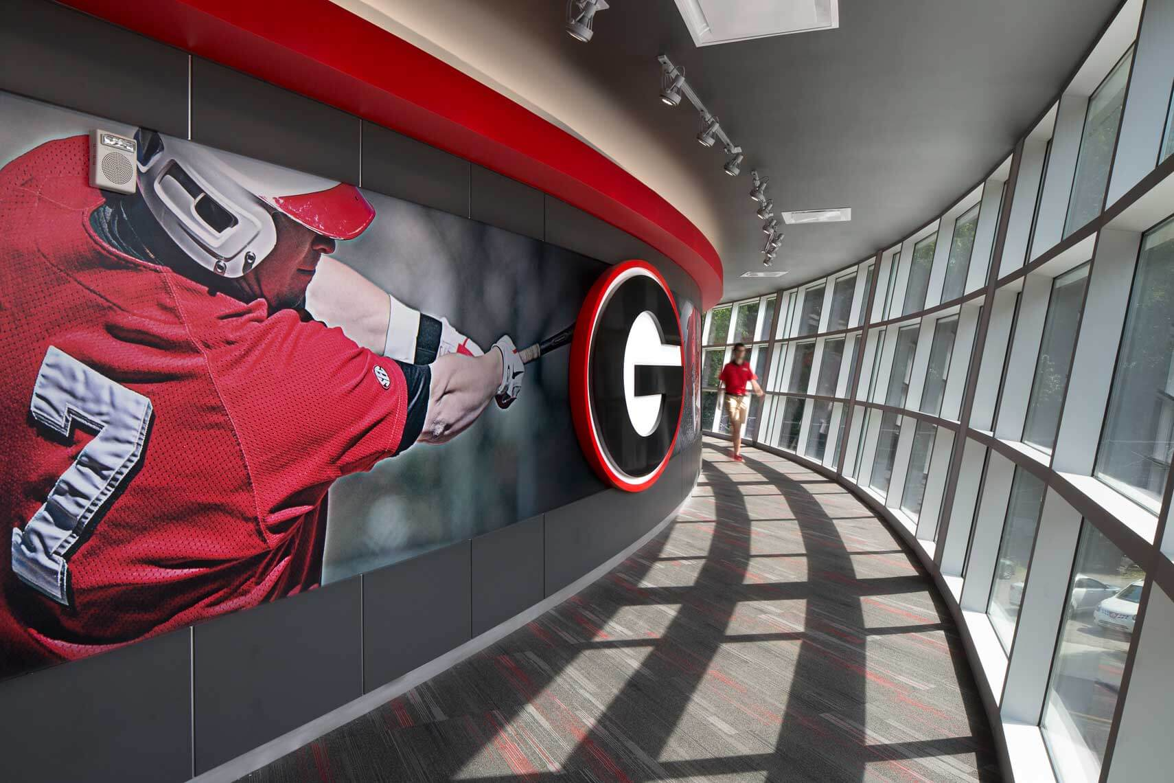 An interior daytime view of the hallway at the University of Georgia Foley Field facility - Atlanta Architectural Photographers
