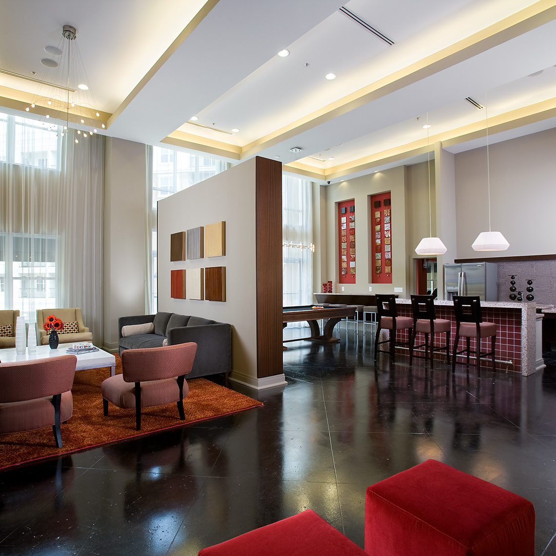 An interior view of the nicely appointed and welcoming Social Lounge at Goodwynn at Town Brookhaven