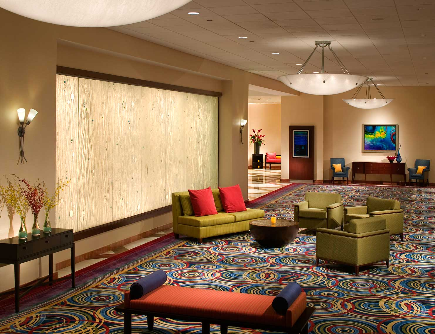 An overall view of the colorful Prefunction Area at the Renaissance Orlando Resort at Sea World