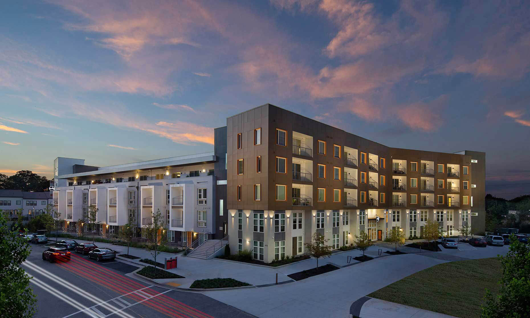 An elevated view at twilight of the Spoke at Edgewood-Candler Apartment Community - Atlanta Architectural Photographers