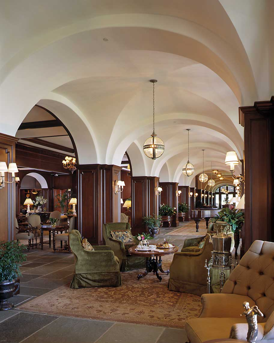 A view showing the traditional architecture in the lounge of The Lodge at Sea Island on St. Simons