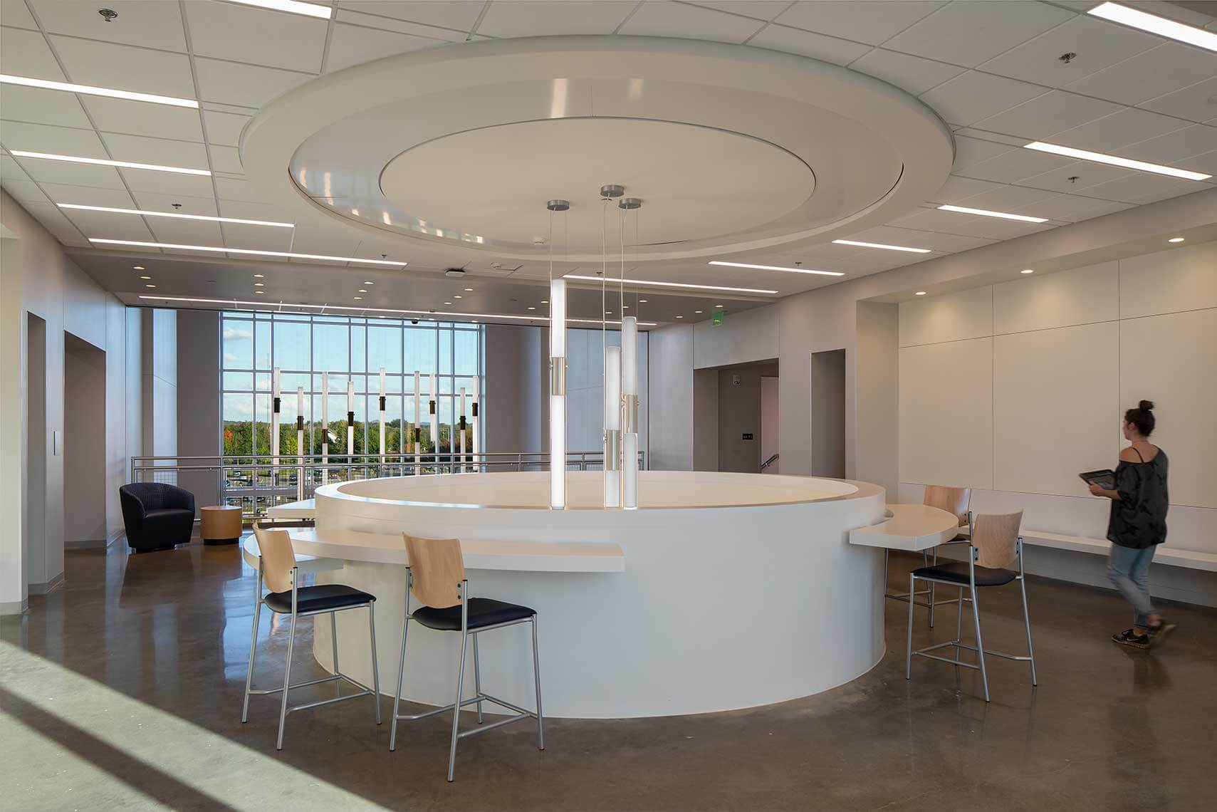 A collaboration area within the Middle Tennessee State University Academic Classroom Building