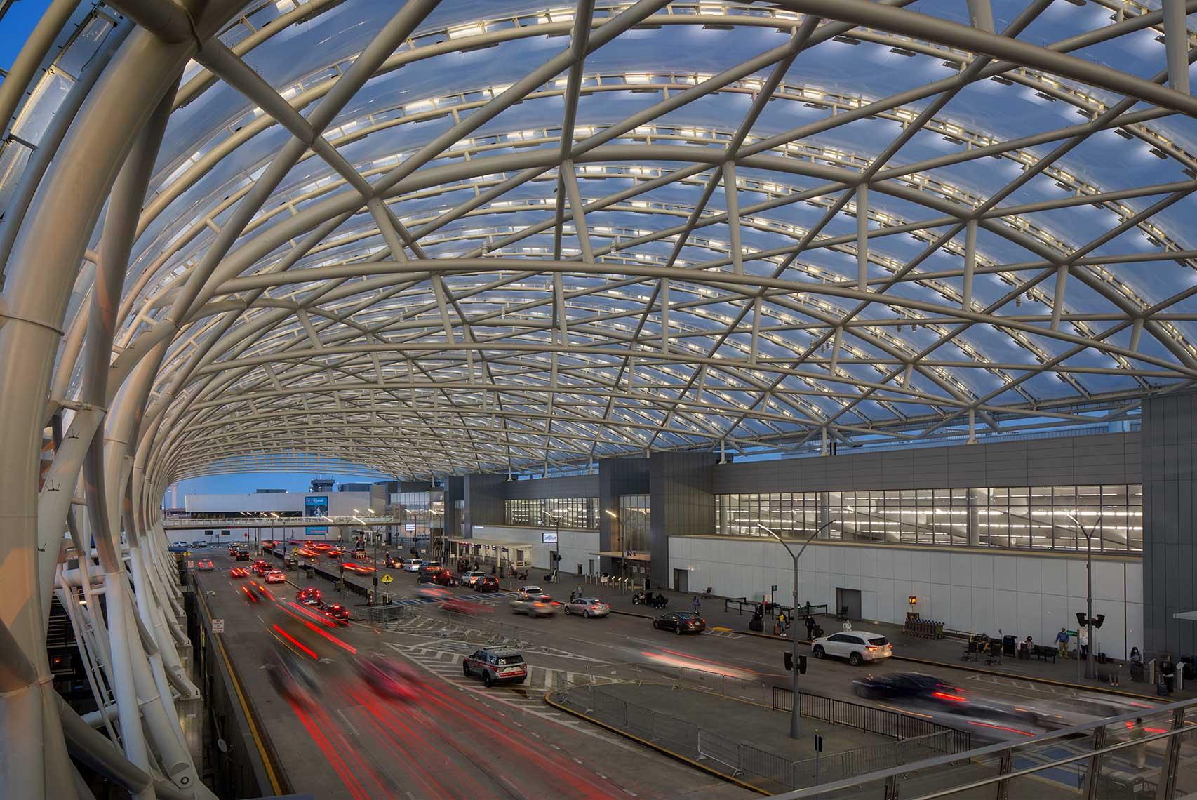 The North Terminal canopy at Hartsfield Jackson Atlanta International Airport glows at twilight